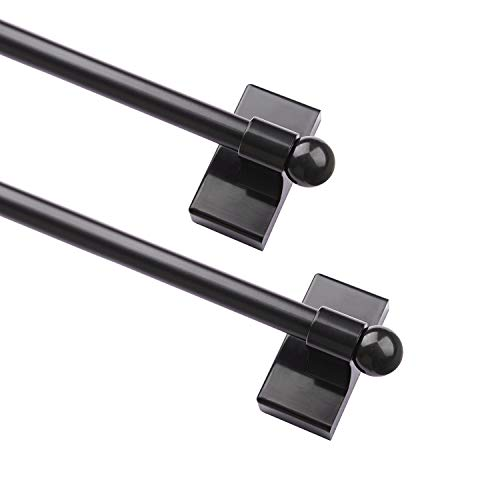 WL.Rocaille Adjustable Magnetic Rods for Mental Appliance, Doors, Windows, 9 to 16 Inch Easy Installation Toilet Towel Bar, Muti-Useful (Black, 2pack)