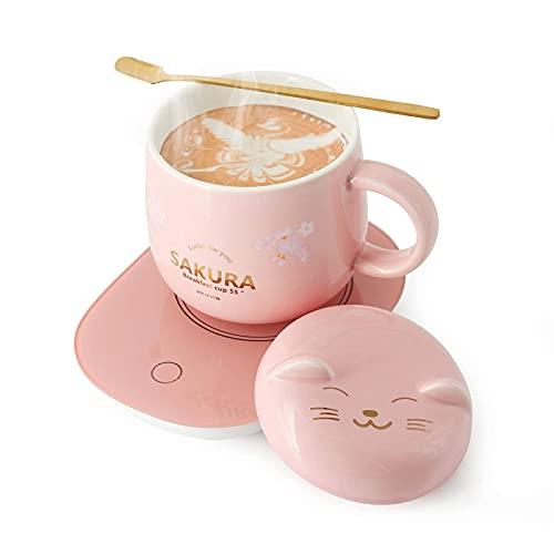 Coffee Warmer with Mug - Cordless Coffee Warmer Smart Coffee Warmer Coffee Cup Warmer for Desk Coffee Warmer for Desk Coffee Cup Warmer Plate Pink