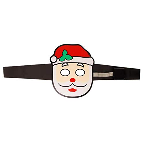 Christmas Version Led Sound Reactive LED Face Cover Music Light Up Adjustable Face Cover Toy, Novelty Funny Toy for Halloween Day (As Show)