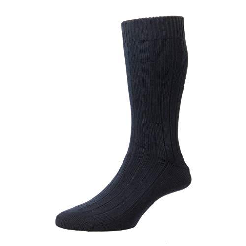 Pantherella Herren Socken aus Raynor geripptem Kleid, mittellang - Blau - Large