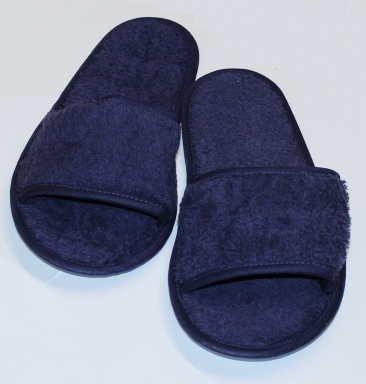 hochwertige Frottee Slipper blau mit offenen Zehen, Classic Terry Slipper / Schuhe / Hausschuhe / Pantoletten / Hotelslipper / Badeschuhe, Gr. 36 - 41