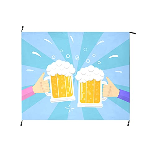 Beer Drink Agreed Deal Cheers Picnic Pocket Blanket 69x55 Inch Outdoor Picnic Pocket Blanket Portable Picnic Blankets Washable for Camping Hiking Grass Travelling