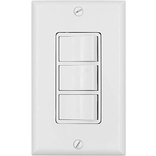 Baomain Triple Rocker Combination Switch 15 Amp, 120 Volt, 3 Individual Switches, Commercial Grade, with Ground Screw, White with Wall Cover UL & CUL