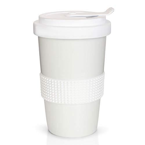 Mahlwerck Kaffeebecher to go, Porzellan Coffee-to-go Becher mit auslaufsicherem Deckel, Weiß, 400 ml