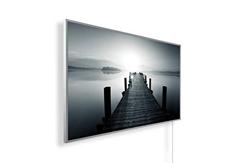 Könighaus - Calefacción por infrarrojos con imagen de calidad HD con certificado TÜV/GS, 200 imágenes, con termostato, 7 programas diarios, 1000 W, marco blanco