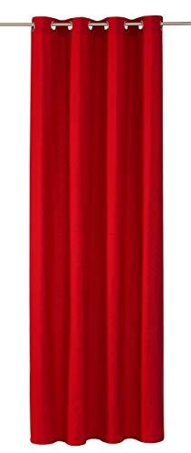 Horn textiles Ösenvorhang Titan Made in Germany Store Dekoschal Fertigvorhang Ösen Blickdicht Modernes Design ca. 135 x 245 cm Rot