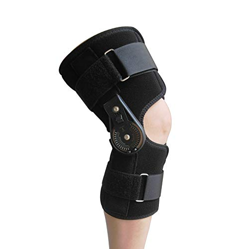 Hinged ROM Knee Brace, Locking Knee Immobilzer Support for Arthritis, ACL, PCL Meniscus Tear, Tendon Orthosis Stability Post Op Recovery Splint Wrap Medical Orthopedic for Men and Women (M)