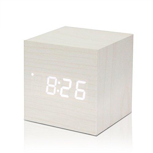 Sunjuly Cube Houten wekker, LED, hout, digitale klok met datumweergave 12/24 uur (bruin), 68 x 68 x 68 mm, hout bruin Bois blanc Mot Blanc