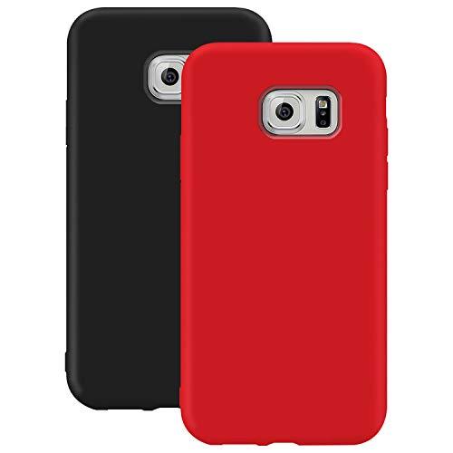 Coque en Silicone pour Galaxy S7 Edge, Misstars Ultra Mince Souple TPU Gel Mat Bumper Doux Léger Anti Rayure Antichoc Housse Étui de Protection pour Samsung Galaxy S7 Edge, Noir + Rouge