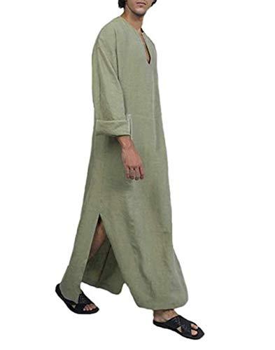PDYLZWZY Ethnische Roben Herren Baumwolle Leinen Kaftan Robes V-Ausschnitt Arab Nachtwäsche Mit Taschen Indian Muslim Herrenhemd Lange Bademäntel Morgenmäntel (Khaki, XXXL)