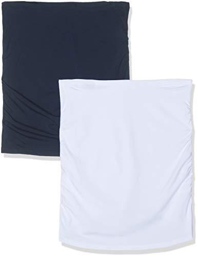 Bellinella Damen Umstands Bauchband für Schwangere 2er Pack, Mehrfarbig (Dunkelblau and Weiß Dunkelblau and Weiß), Large (Herstellergröße: L/XL)