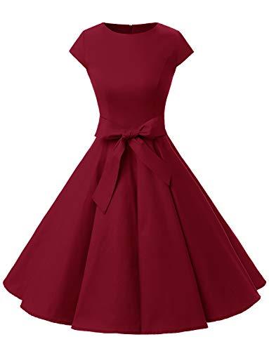 Dressystar Damen Vintage 50er Cap Sleeves Dot Einfarbig Rockabilly Swing Kleider Small, dunkelrot