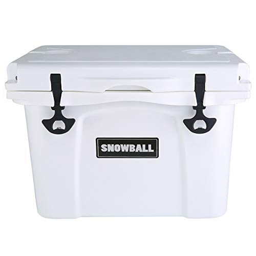 Snowball Coolers, Rotomolded Insulation Ice Chest for Camping, Fishing, Hunting, BBQs & Outdoor Activities, White, 26QT(25L)