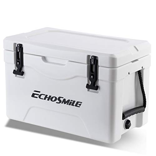 EchoSmile 30 Quart Rotomolded Cooler, Portable Ice Chest Cooler with Durable Handles, Keep Ice Up to 5days, White Ice Cooler Suit for Camping, Travelling, Fishing (36-Can Capacity)