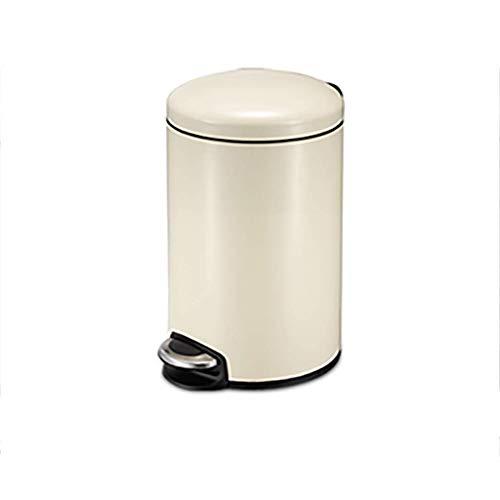 LIUCHANG Papelera creativa de acero inoxidable, cubo de basura para baño, sala de polvo, cocina, oficina, pedal de almacenamiento, papelera de escritorio (color: beige) liuchang20 (color: beige)