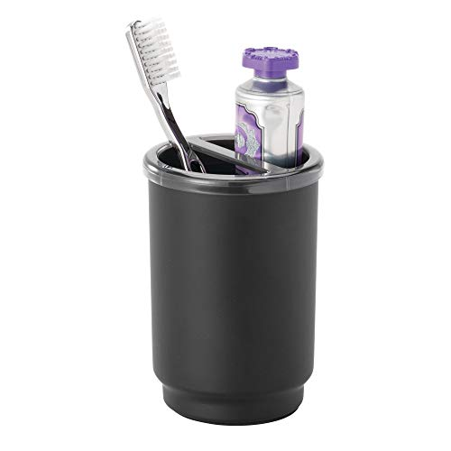 Price comparison product image iDesign Austin Toothbrush Case,  Stainless Steel and Plastic Toothbrush Stand with Cover,  Regular and Electric Toothbrush Holder,  Matte Black