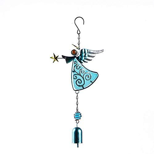 YL-adorn art windspel, tuin en indoor windspel met natuurlijke ontspannende tinten, creatieve blauwe engel klokken en klokkenspel in de wind S haken, voor decoratie kerstmis cadeaus