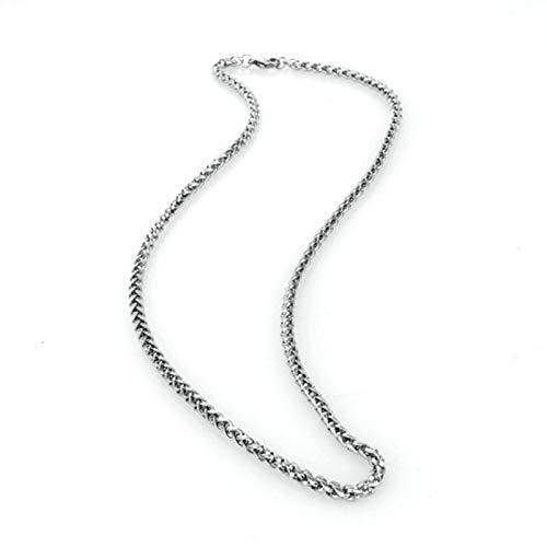 Aeici Collar de Hombre Largo Cadena Trigo Collar para Hombres Plata Largo 55 Cm