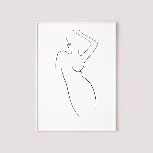 Dibujo lineal de silueta de mujer,mural imprimible,línea de cuerpo femenino,arte en blanco y negro,cartel de pintura decorativa familiar minimalista sin marco Z21 30x40cm
