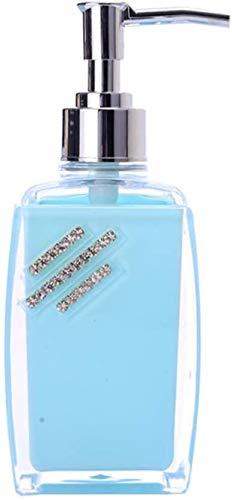 Dispensador de jabón de la bomba, botella de champú azul del rectángulo Contenedores Brillante decoración de cristal luz con la mano del cromo de la bomba de boquilla Aplicar for Baño de cocin