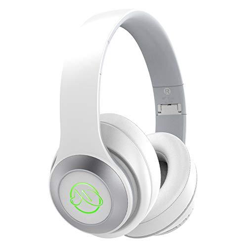 Cuffie Wireless Over Ear,Cuffie Bluetooth Senza fili con Microfono Integrato e Led 7 colori,Cuffie Chiusa Pieghevole,20 Ore di Autonomia Per iPhone Samsung Huawei (Brianco)