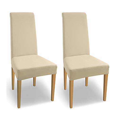 SCHEFFLER-Home Natalie 2 Fundas de sillas, Estirable Cubiertas, Algodón extraíble Funda con Banda elástica, Crema