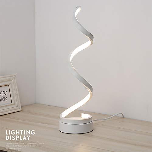 ALLOMN Lampada da Comodino a LED, Lampade da Tavolo a Spirale Lampada da Scrivania a LED Curva Moderna Lampada da Scrivania Moderna Minimalista (Bianca, Bianco Freddo)