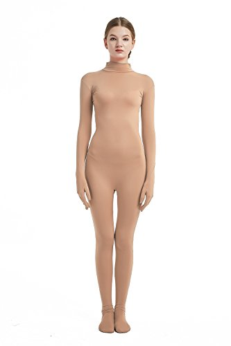 Full Bodysuit Womens Costume Without Hood Lycra Spandex Stretch Zentai Unitard Body Suit Medium Nude