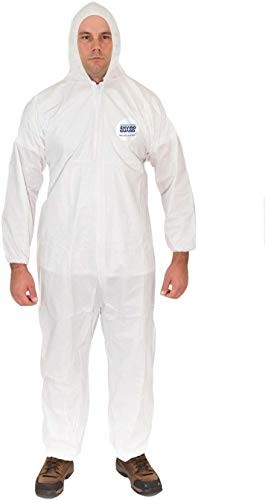 Microguard MP Microporous (White)   Particulate & Splash Protection/Disposable Hazmat Coverall with Attached Hood and Elastic Wrist & Ankle for Paint and Particulates (5XL, Case of 25)