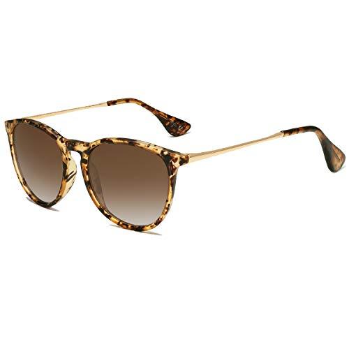 SOJOS Gafas de sol polarizadas para mujeres y hombres, estilo clásico redondo TR90 SJ2091, Ámbar/Marrón Degradado, Medio