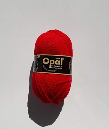 100g Sockenwolle Opal uni - Fb. Rot - Fb.-Nr. 5180