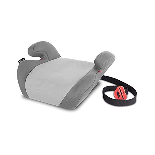 Lionelo Luuk Seggiolino auto rialzo gruppo 2 e 3 da 15 a 36 kg Braccioli comodi installazione con cinture di sicurezza ECE R44 04, Grigio