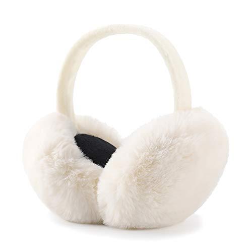 Winter Ear muffs Faux Fur Warm Earmuffs Cute Foldable Outdoor Ear Warmers For Women Girls (White)