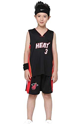 OLIS Kinder Basketball Anzug NBA Heat #3 Wade Basketball Trikots Top & Shorts