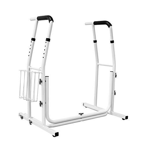 Aufun Toilettenstuhl Ergonomische Rückenlehne Klappbar Aluminiumlegierung WC Rollstuhl Toilettenrollstuhl mit 4 Räder für Behinderte Person, ältere Menschen und schwangere Frauen, Beige