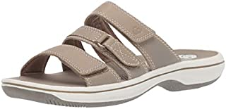 CLARKS Women's Brinkley Coast Slide Sandal Taupe Synthetic 80 M US