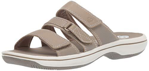 Clarks Women's Brinkley Coast Slide Sandal, Taupe Synthetic, 80 M US