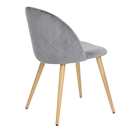 SZHWLKJ Sillas de Terciopelo sillas de Comedor Moderno de los Mediados del Siglo Accent Ocio sillas tapizadas Laterales con Las piernas del Metal for la Sala (Color : Gray, Size : 1 Pack)