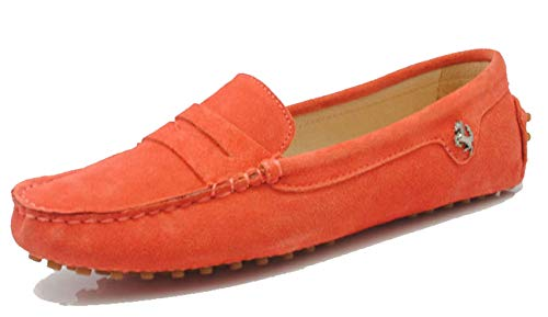 Minishion Women's Penny Loafers Orange Red Suede Comfortable Driving Shoes YB9603 US 8