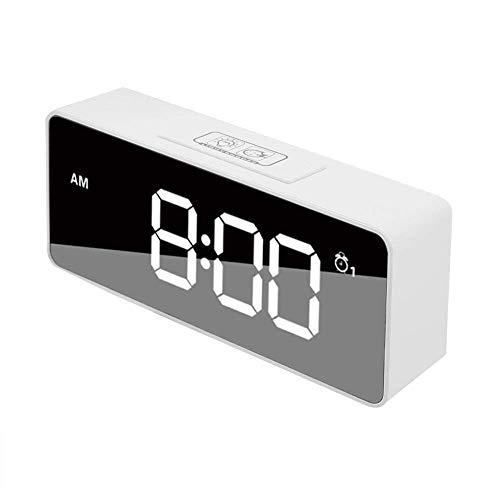 Duokon Multifunctionele wekker met achtergrondverlichting, spiegel-weergave, USB, digitaal, muziek, snooze klok