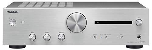 Onkyo A-9130 Integrierter Stereoverstärker (2X 60W Hochstromverstärkung, Wide Range Amplification Technology, gut lesbares Display) Silber