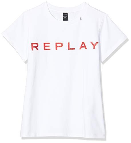 Replay Mädchen SG7479.010.20230 T-Shirt, Weiß (Butter White 012), 128 (Herstellergröße:8A)
