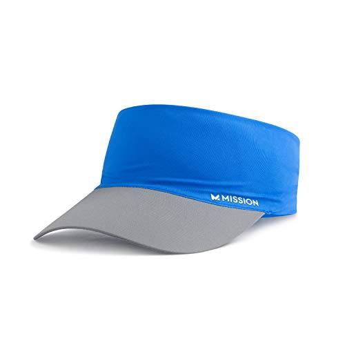 Mission Cooling Stretchy Visor- Lightweight, No Slip Band, UPF 50- Blue