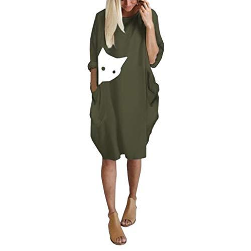 MRULIC Damen Beiläufige Lose Kleid Fest Langarm Boho Lang Maxi Kleid Frauen Sommer Lange Ärmel T-Shirt Pullover Rundhals Spitze Tunika Top Lässige Oberteil Blusenkleid(C-Grün,EU-38/CN-M)