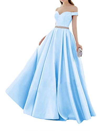 Elegant Abendkleider Satin Herzausschnitt Brautkleider Lang Ballkleider Schulterfrei Hochzeitskleider Quinceanera Kleider Himmel blau 36