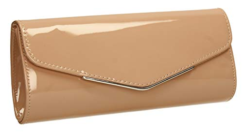 SWANKYSWANS Ariel Patent Envelope Clutch Bag Nude
