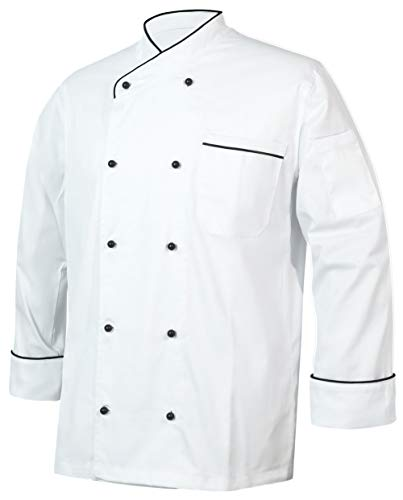 10oz apparel Black Chef Coat Contrast Piping Long Sleeves Jacket (White/Black Piping, L)