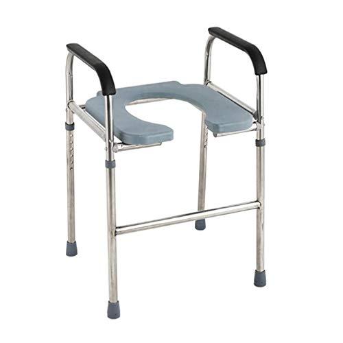 AZXC-1 Toilettenstuhl,Fahrbarer WC-Stuhl, Höhenverstellbar/Toilettensitz Mit Armlehnen,Behinderte/Ältere Menschen