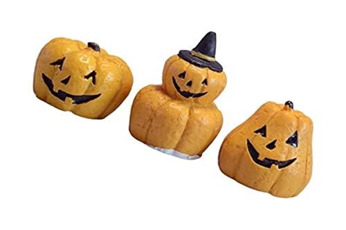 LIXBD Lot de 3 décorations miniatures en résine pour Halloween - Décoration de gâteau - Jardin féérique - Maison de poupée - Accessoires pour fête d'Halloween