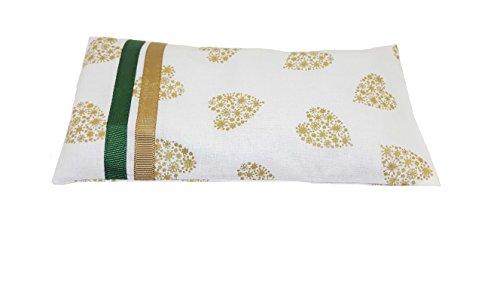 Yoga & Mia Scented Lavender Eye Pillow White Gold Hearts Organic Cotton Meditation...